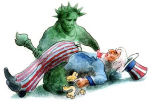 Lady Liberty holding Uncle Sam