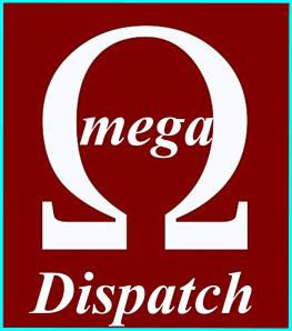 OMEGA DISPATCH LOGO WITH BROWN BACKGROUND